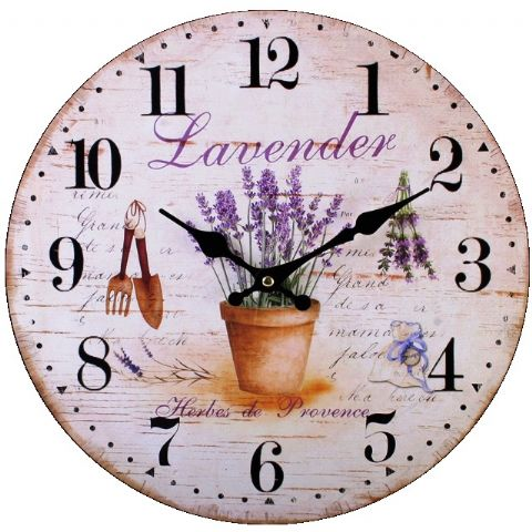 Lavender 75611 - Large Rustic Retro Kitchen Wall Clock 34cm